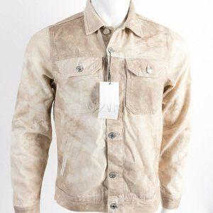 Zara Mens Denim Jean Jacket S Brown Tan Button up